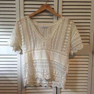 Zara Lace + Mesh T-Shirt